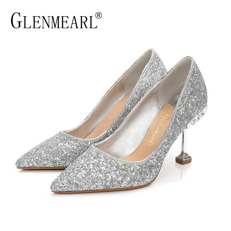 Brand Women Pumps High Heels Shoes Spring Bling Glitter Thin HeelS Pumps Lady Rhinestone Pointed Toe Wedding Shoes Woman Gold DE brand women pumps high heels shoes leather spring wave point single women dress shoes thin heels pointed toe party pumps lady de