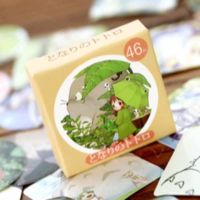 46 قطعة اليابان الكرتون totoro ملصقات البسيطة حجم جولة مربع شكل صندوق ورقي ختم التعبئة ملصقا مجموعة الجملة