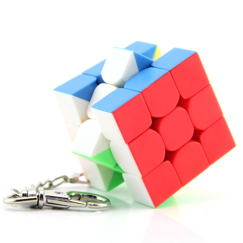 Mofangjiaoshi 3cm Mini Small Cube Key Chain Smart Cube Toy & Creative Key Ring Decoration 3x3x3 Cube Toys For Child new arrival 6pcs 1set 3cm hand sized anime pokeball key chain ring abs toy super master children toy juguetes original box