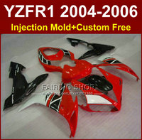 Customize free motorcycle Injection factory fairings for YAMAHA R1 2004 2005 2006 YZFR1 YZF1000 04 05 06 red black fairing kits