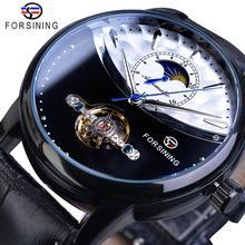 купить Forsining Brand Men Tourbillon Mechanical Watches Automatic Moonphase Half Color Black Leather Belt Wristwatch Reloj Hombre Gift по цене 1953.28 рублей