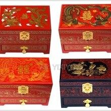 Chinese 3 Layer Wood Storage Dragon Phoenix Jewelry Box with Mirror Wedding Bangle Jeweller