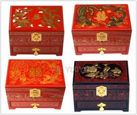 Chinese 3 Layer Wood Storage Dragon Phoenix Jewelry Box with Mirror Wedding Bangle Jewellery Display Box Container Carrying Case