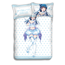 Janpanese Anime Lovelive Sunshine Bed Sheet King Queen Size Fitted Coverlet Sheet Set Comfort Love live Sunshine Bed Cover