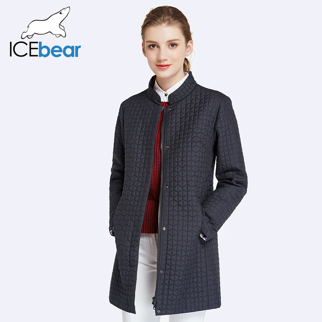 ICEbear 2017 Inside Zipper Pocket Designed Cotton Padded Jacket In Womens Parkas Long Thin Women's Coats Round Collar