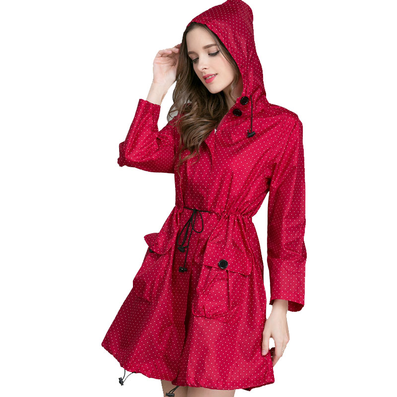 Long Raincoat Women Ladies Raincoat 2017 Fashion Women's Rainwear Pustende Portable Water-Repellent Ladies Long Raincoats