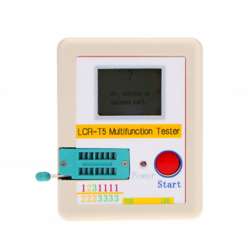 New LCR-T5 White Transistor Tester Diode Triode Capacitance ESR Meter Tester With LCD Display MOS Triac  цены