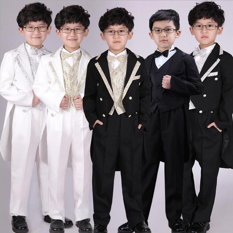 6 Pieces Children's Swallow-tailed Coat Boys Tuxedo Suit Boys Wedding Clothes Boys Formal Suit Children Dance Costumes Outerwear