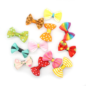10Pcs/lot Mixed Candy Color Solid/ Dot/ Flower Print Ribbon Bow Hairpin BB Hair Clips for Baby Girls Kids Hair Accessories TSLM1