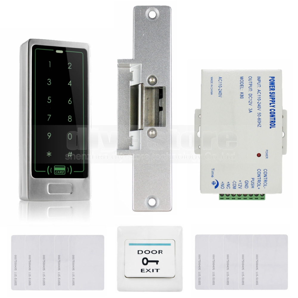 Diysecur 125khz rfid reader metal keypad door access for Door access controller
