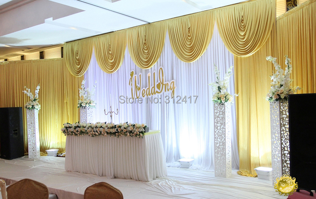 Wholesale And Retail 3x6m White Gold Wedding Backdrop Curtain With Swag Drapes