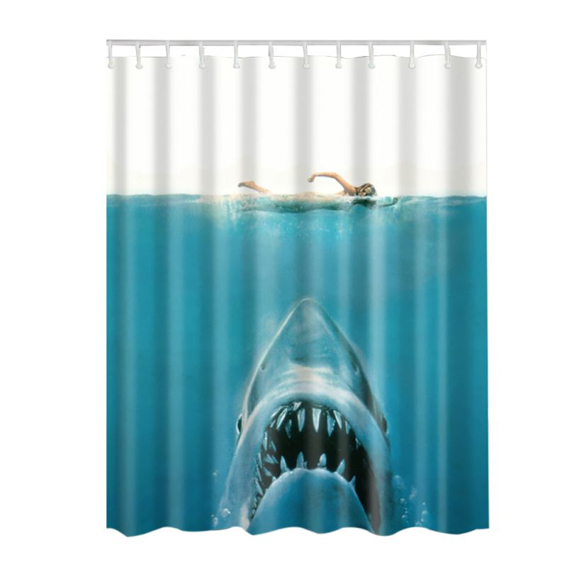 Animal Decor Collection Starfish Seascape Picture Print Bathroom Set Fabric Shower Curtain with Hooks Hot Sale