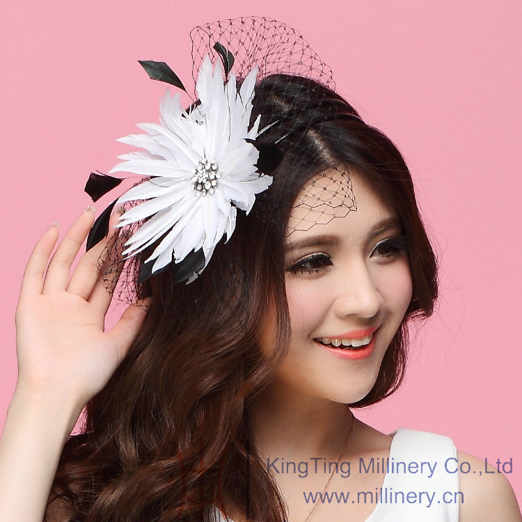 Free Shipping New Women Fascinator Hats Hair Accessory Wedding Hair Accessories Hairdress Feather White Flower Mesh Veiling Clip