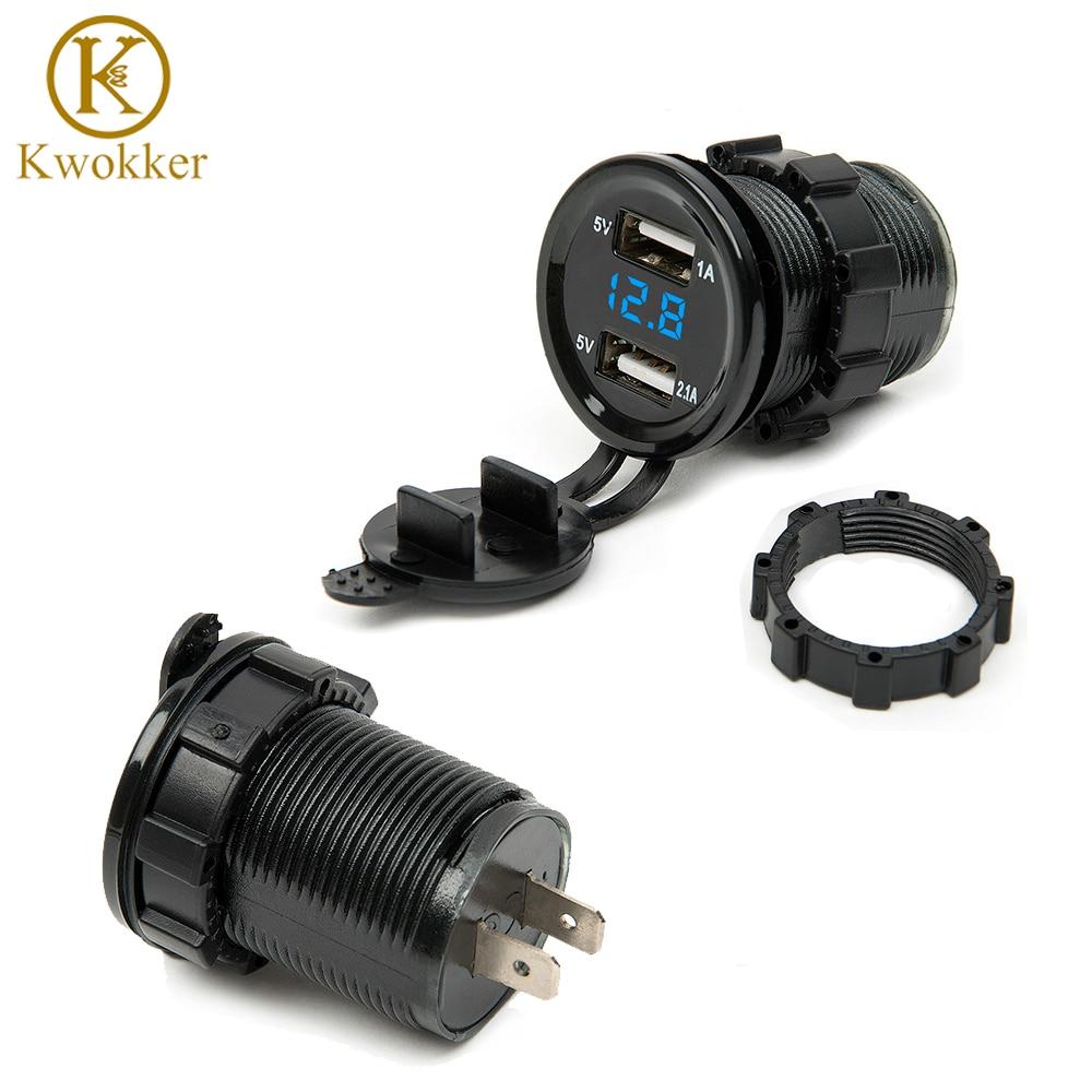 Doble USB motocicleta encendedor de cigarrillos coche encendedor cargador de enchufe cargador + LED Digital voltímetro medidor Monitor 3 colores