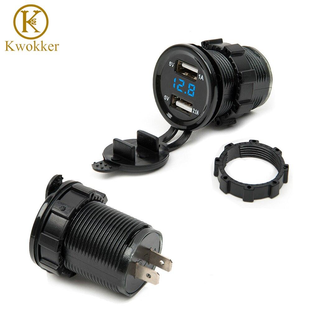 Dual USB motocicleta Mecheros coche Mecheros cargador + LED Digital voltímetro Monitores 3 colores