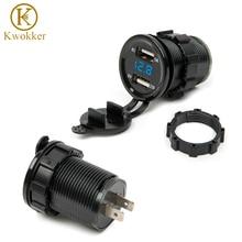 Dual USB motocicleta encendedor de cigarrillos encendedor de coche cargador enchufe cargador + LED Digital voltímetro Monitor 3 colores
