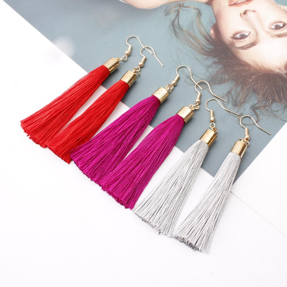 Donarsei Bohemian Long Fringe Tassel Earrings For Women Simple Black Rope Hook Drop Dangle Earrings Jewelry Gift 4