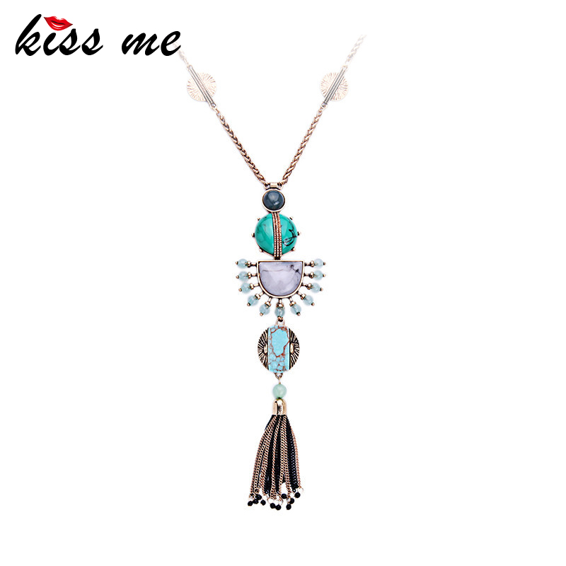 Summer Trendy Long Alloy Gold Color Chain Pendant Necklace Famous Brand Jewelry Accessories Mother's D Gift