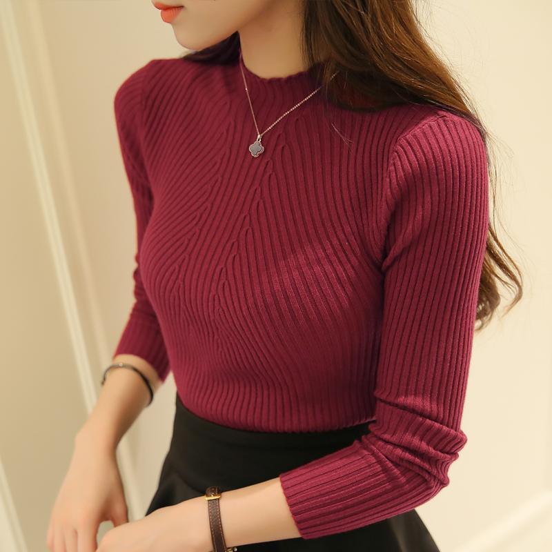 Nuevas mujeres de cuello alto de punto femenino suéter de punto delgado suéter n