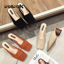 купить Wellwalk Block Heel Shoes Women Heel Slippers Ladies Chunky Heel Mules Women High Slippers Female Square Toe Slides Women Shoes по цене 1595.79 рублей