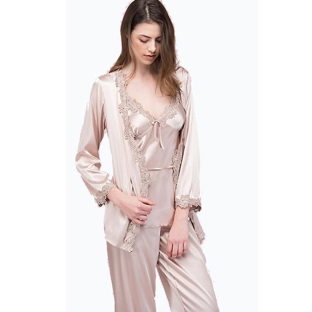 c4f6776577 3PC Women Satin Silk Sleepwear Female Silk Pajama Sets Ladies Pyjamas Solid  Lace Women Home Clothing