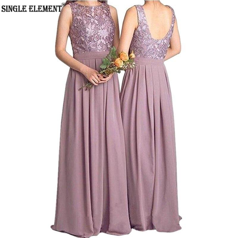 SINGLE ELEMENT Wedding Guest Wear Long Chiffon A Line Bridesmaid Dresses