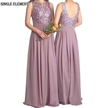 New Bridesmaid Dresses Lace 100% Real Photo Country Maid of honor Dress Chiffon A Line Wedding Guest Wear Long