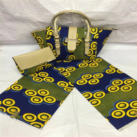 Latest Design African Wax Bag Set Fashion Women Handbag African Java Wax Prints Fabric For Women