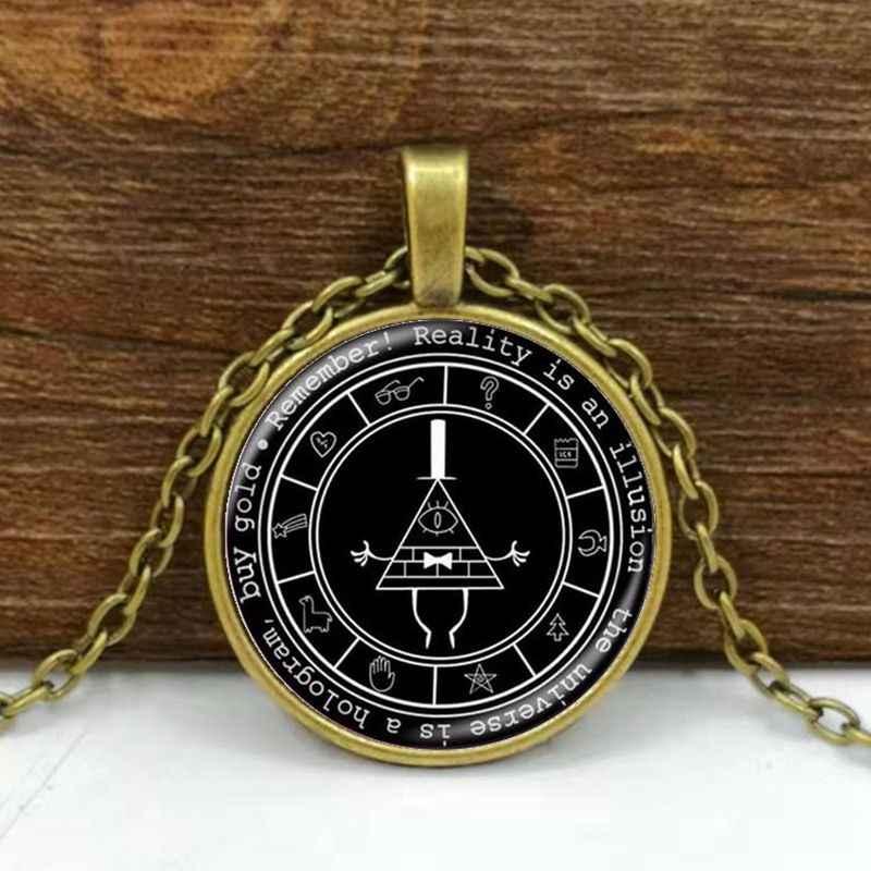 Gravity Falls Mysteries สร้อยคอจี้ Bill Cipher Wheel Silver Art Handmade Vintage ของขวัญสร้อยคอสำหรับเด็ก