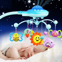 0 12Months Baby Bed Bells Newborn Rotating Crib with Music and Sky Stars Projection Hanging Baby Rattle Bracket Set Baby Toys