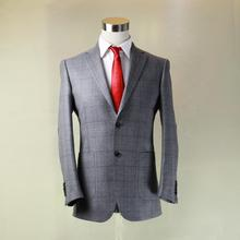 silver grey with big window plaid heavy wool man's designer jacket,nortch lapel,custom tailor made man's MTM coat free shipping