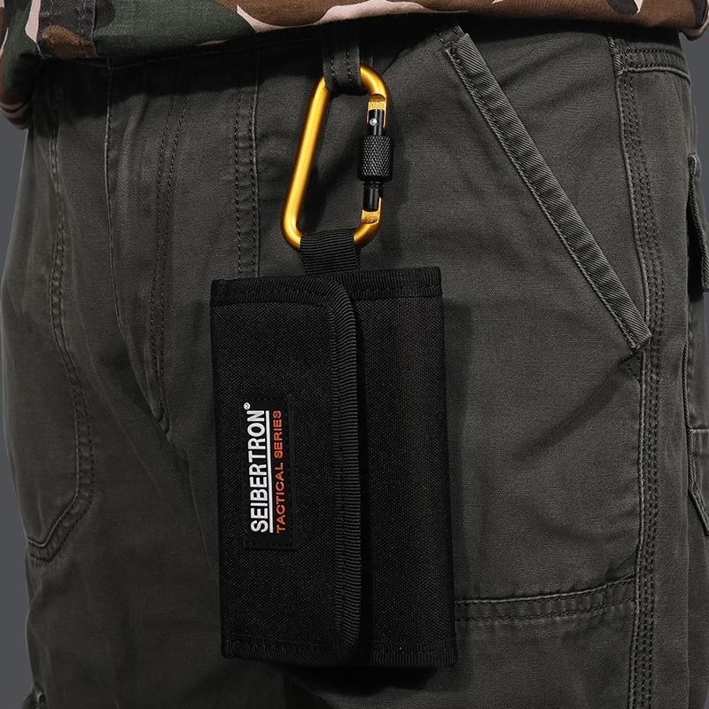 Seibertron Tactical Men's Pocket Money Purse Wallet Gear Black Brown Sport Micro Wallet RFID Blocking Army Wallet Waterproof