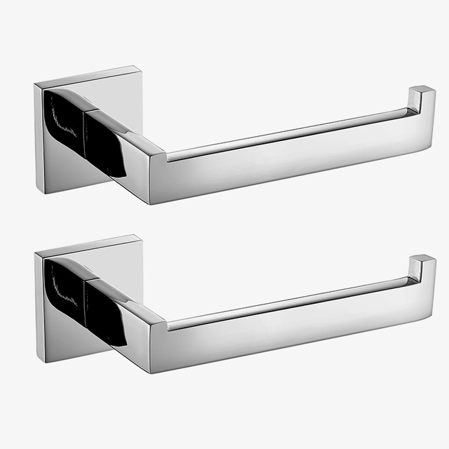 2 pcs/lot SUS 304 Stainless Steel Toilet Paper Holder Bathroom Toilet Roll Holder For Paper Towel Square Bathroom Accessories