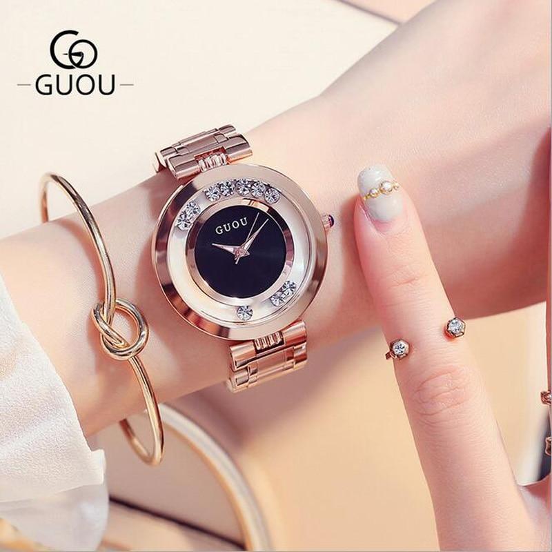 71845adcde574 GUOU Relógios Mulheres Top Strass Luxo relógios de Pulso de Moda Subiu  Senhoras Relógio de Ouro