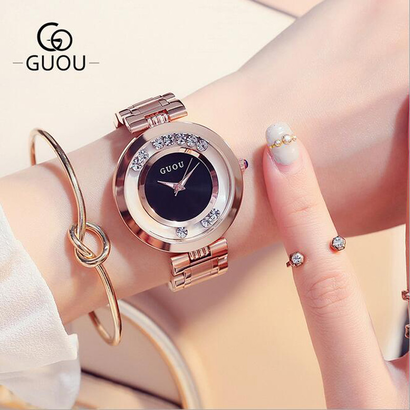 GUOU Watches Women Top Luxury Rhinestone Wristwatches Fashion Rose Gold Ladies Watch Full Steel Clock saat relogio feminino top brand contena watch women watches rose gold bracelet watch luxury rhinestone ladies watch saat montre femme relogio feminino