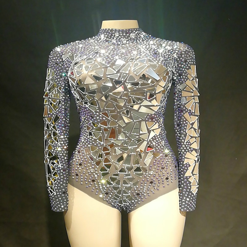 Fashion See Through Mirrors Mesh Bodysuit Sexy Sequins Big Stretch Costume Stage Dance Wear Evening Birthday Celebrate Jumpsuit