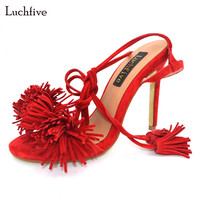 Luchfive Summer Sandals Women Kid Suede Red Blue Yellow Thin High Heels Fringe Tassel High Quality