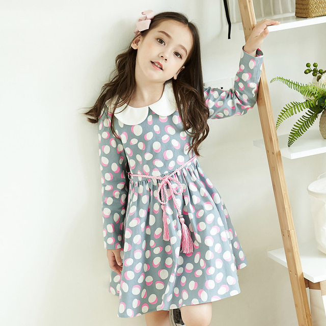 2017 Cute Baby Girls Princess Party Dress Pink White Polka Dot Elegant Birthday Clothes For Kids Age5678910 11 12 Years Old