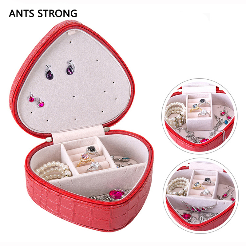 ANTS STRONG litchi pattern jewelry storage box/Earring ring boxes christmas girlfriend gift mini portable jewel box