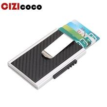 Men Antitheft Metal Card Holder Fashion RFID Aluminium Credit High Quality PU Leather Travel Wallet
