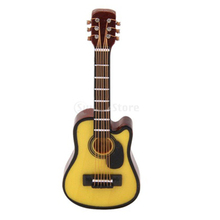 1:12 Dollhouse Miniature Music Instrument Acoustic Guitar Yellow and Brown red