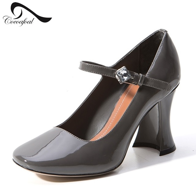 Brand Cow Leather High Heel Mature woman Pumps Belt Buckle High Quality Women Shoes Sexy Women's Occupation Leather high heels