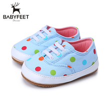 The New Spring Autumn Baby First Walkers Boys Girls Shoes Soft Bottom Non Skid Rubber Sole Fashion and Breathable Dots pattern