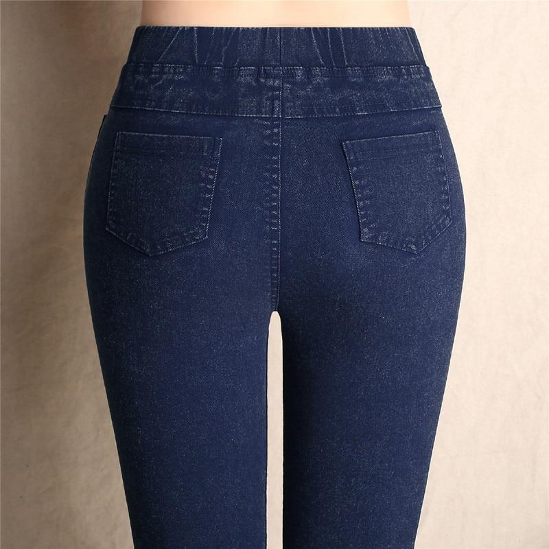 Russia Trend Lady Jeans Spring Autumn Elastic Band High Waist Skinny Slim Pencil Pants Blue Cotton Denim Patchwork Big Size