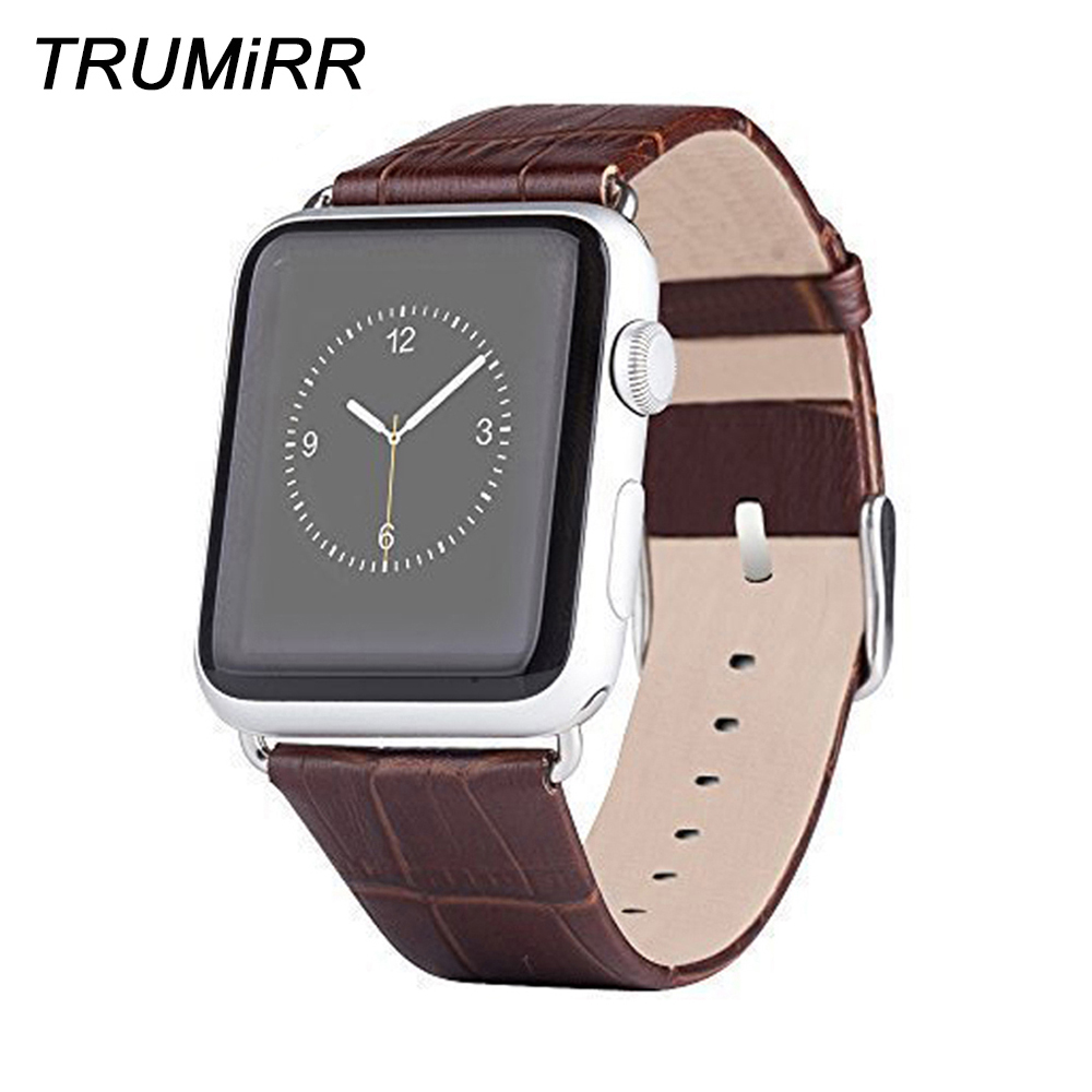 22mm 24mm Genuine Leather Watch Band for iWatch Apple Watch Sport Edition 38mm 42mm Bracelet Strap with Link Adapter Connector все цены