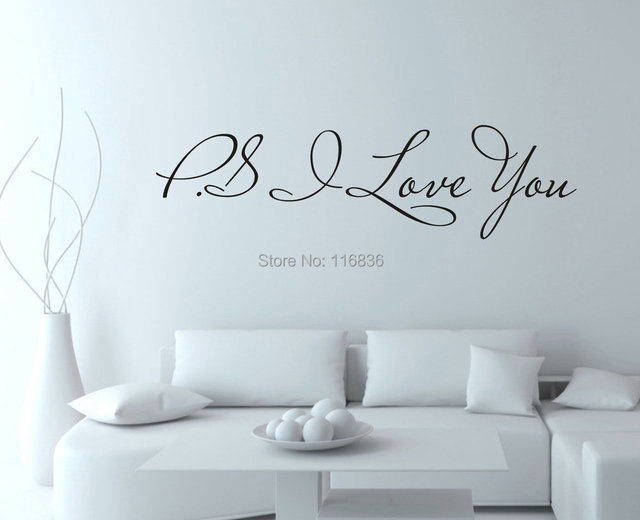 Valentine's Day Hot selling PS.I love you Home Decor Wall Stickers &Wall Quote Decals-love quotes (16 x 60 cm/piece)