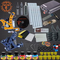 Complete Tattoo Machine Set 2 Coils Guns 6 Colors Black Pigment Sets Power Tattoo Beginner Kits