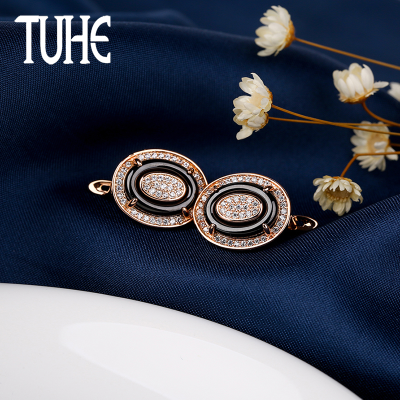 Detail Feedback Questions about Rose Gold Oval U Shaped Earrings With Black  Ceramic And Shining Rhinestone For Women Vintage Jewelry Christmas Gifts  For ... 0e9eaf74cf58
