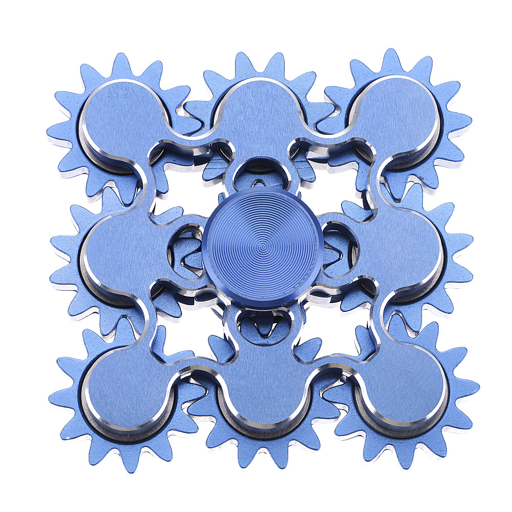 Unique 9 Gears Hand Spinner Metal ADHD Anxiety Autism Stress Reducer Fidget Blue