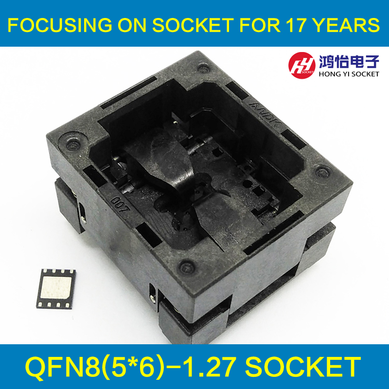 QFN8 MLF8 Burn in Socket Open Top Pogo Pin IC Test Socket Pitch 1.27mm Chip Size 5*6 Flash Adapter Programming Socket import cnv msop 8 test socket adapter convert burn msop8 to dip8